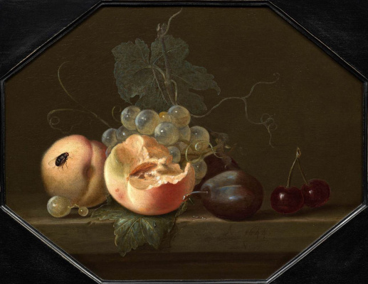 Willem van Aelst. Still life with peaches, plums and grapes
