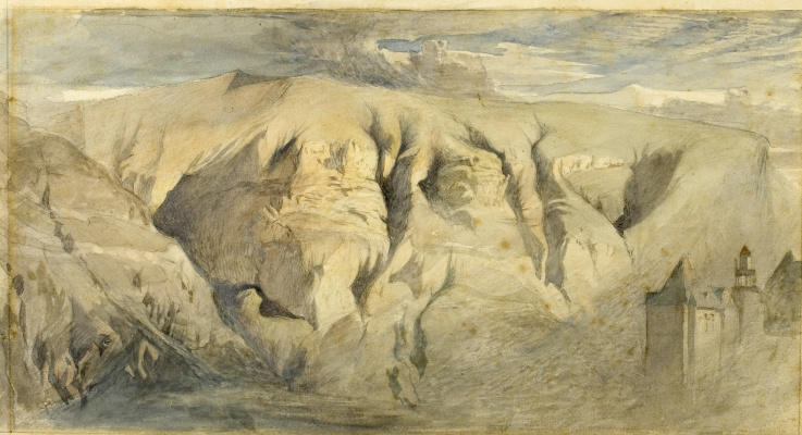 John Ruskin. View of the mountain Salev