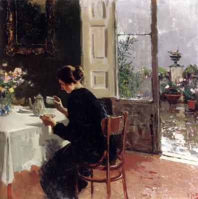 Винченцо Иролли. Женщина пьет чай