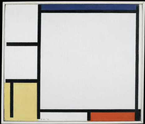 Piet Mondrian. Composition with blue, red, yellow, and black