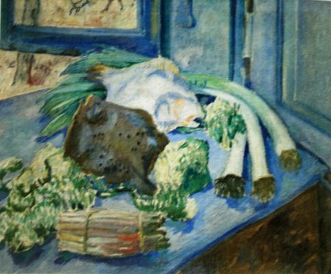 Михаил Федорович Ларионов. «Рыбы (Натюрморт с луком-пореем)» Около 1907