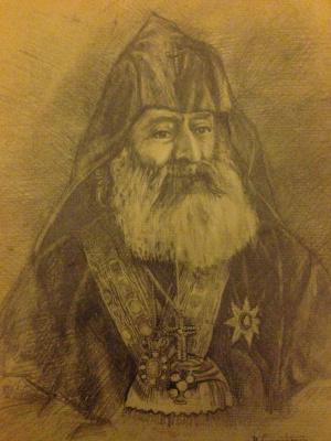 Vardges Akopovich Sureniants. Portrait ,, Catholicos of All Armenians Khrimyan Hayrik ,,