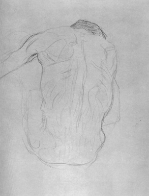"Gustav Klimt. Sitting male Nude from behind (Sketch for ""Medicine"")"