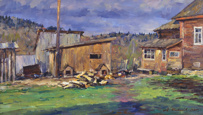 Alexander Victorovich Shevelyov. Rustic двор1.Oil on canvas 34,5 # 60,5 cm 2010