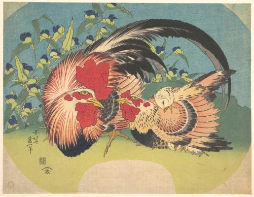 Katsushika Hokusai. Rooster, hen and chicken tradescantia
