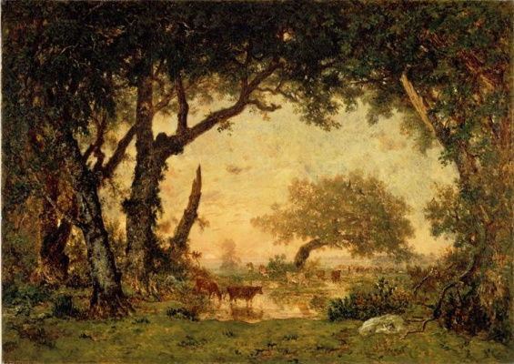 Theodore Rousseau. The exit from the forest of Fontainebleau. Sunset