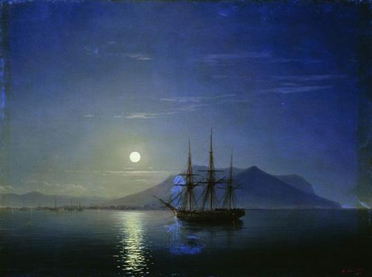 Ivan Constantinovich Aivazovski. Sailboat off the coast of Crimea in the moonlit night