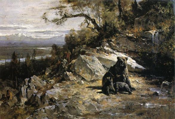 Thomas Hill. Family of bears