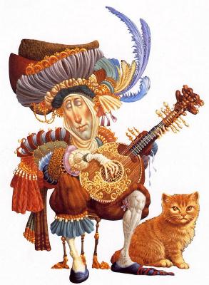 James Christensen. Serenade with a ginger cat