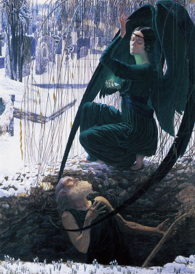 Carlos Schwabe. Death and the gravedigger