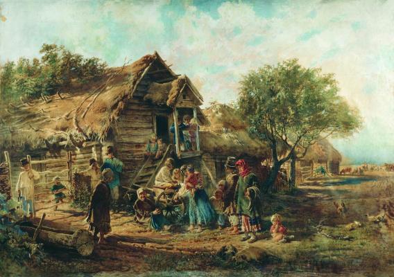 Konstantin Makovsky. After the Bazaar (Village scene)
