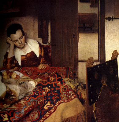 Jan Vermeer. The sleeping girl. Fragment