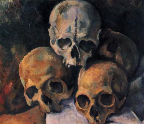 Paul Cezanne. Still life with skulls