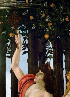 Sandro Botticelli. Spring (Primavera). Detail: mercury disperses the clouds