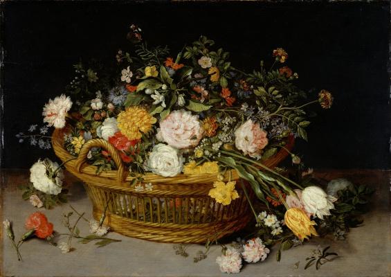 Jan Brueghel the Younger. Basket of flowers