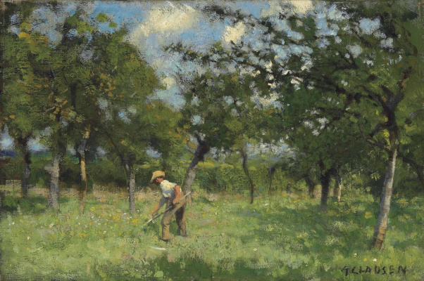 George Clausen. The mower in the orchard