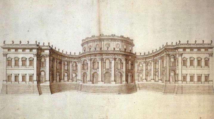 Джованни Лоренцо Бернини. Лувр, восточный фасад. Второй вариант проекта