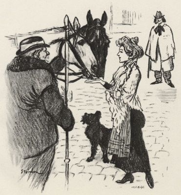 Theophile-Alexander Steinlen. The woman, treated horses