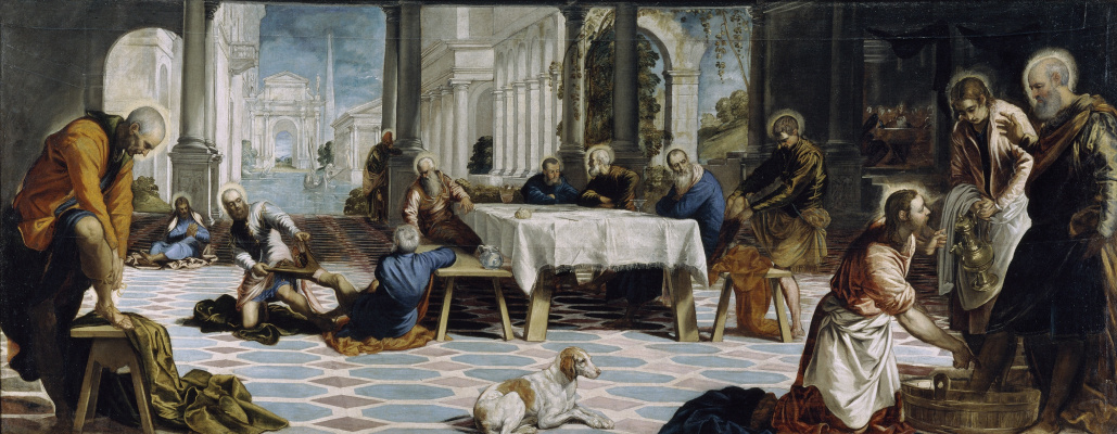 Jacopo (Robusti) Tintoretto. Christ washes the feet of his disciples