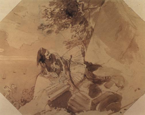 Karl Pavlovich Bryullov. Greek lying on a rock