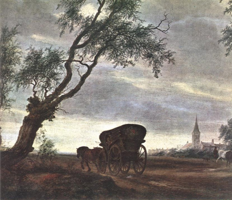 Саломон ван Рёйсдал. Остановка у таверны. Фрагмент.