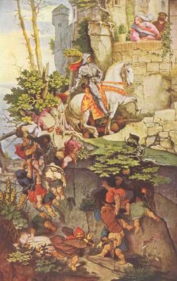 Moritz background Schwind. Kuno von Falkenstein on horseback