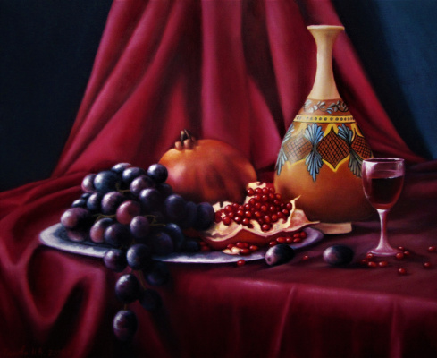 Natalia Viktorovna Tyuneva. Still life with pomegranate and grape.