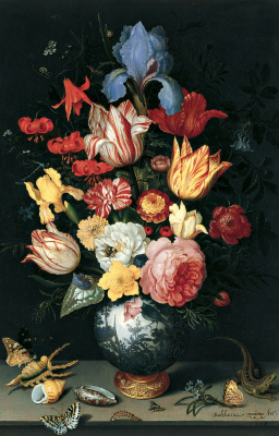 Baltazar van der Ast. A bouquet of flowers in a Chinese vase, shells and insects