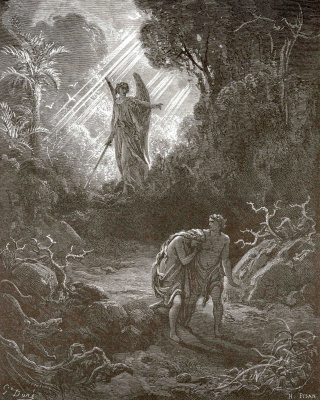 Paul Gustave Dore. Illustrations to the Bible: the expulsion of Adam and Eve from paradise
