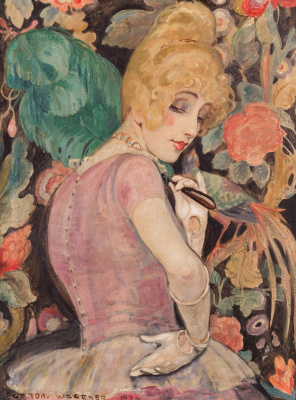 Gerda Wegener. Lily Elbe with green feather fan