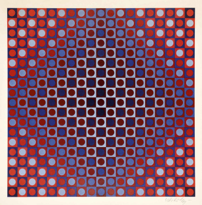 Victor Vasarely. Scarlet red