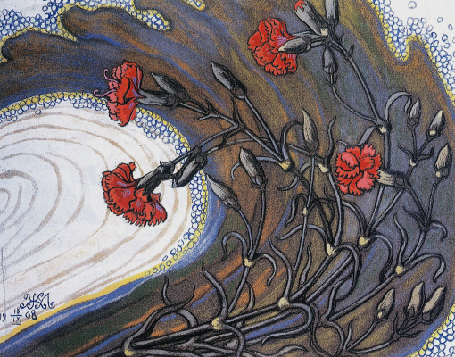 Mikhail Ivanovich the Beetle. Carnations in a pattern