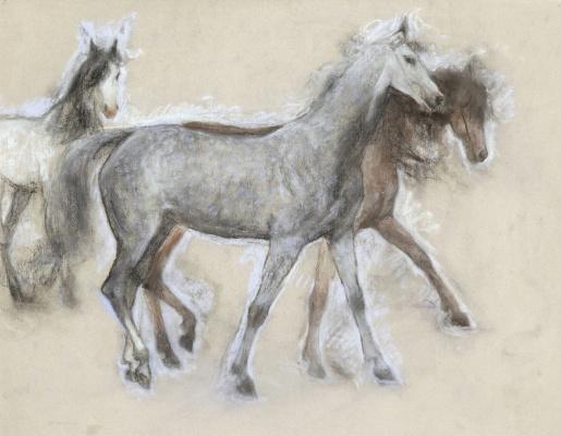 Lucien Levi-Durme. Sketch of horses.