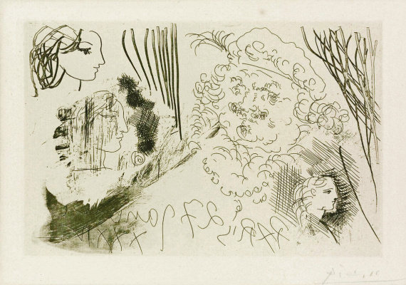 Pablo Picasso. Suite Vollard (074). Rembrandt and Women's Profiles