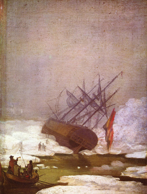 Caspar David Friedrich. The skeleton of the ship in the polar sea