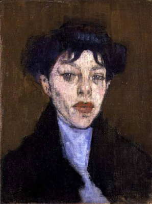 Amedeo Modigliani. Portrait of a woman with blue headscarf