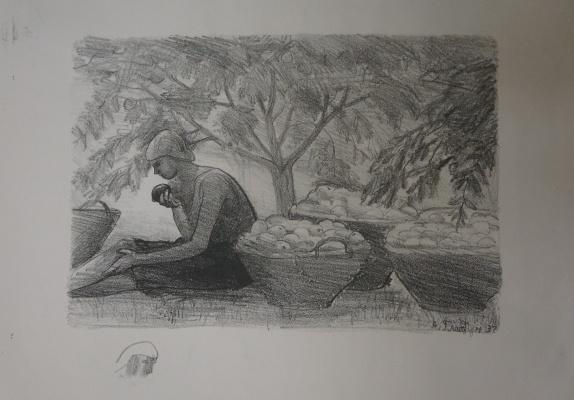Alexandra Antonovna Gladun. In the gardens