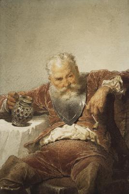 Михай Зичи. Фальстаф с кружкой вина и трубкой