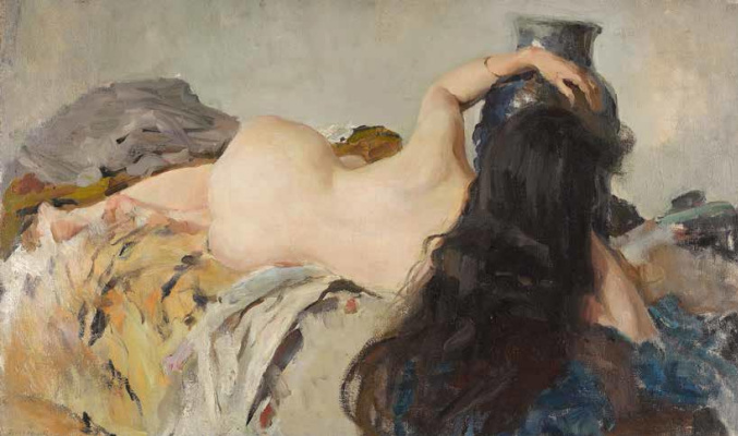Valentin Aleksandrovich Serov. The model with her hair