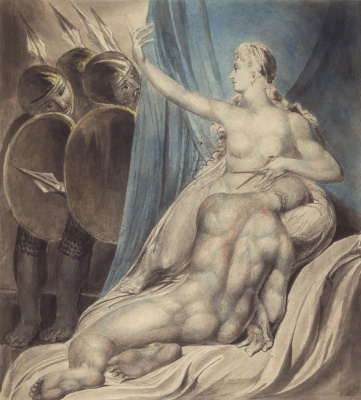 William Blake. Illustrations of the Bible. Delilah and Samson, the obedience of Samson