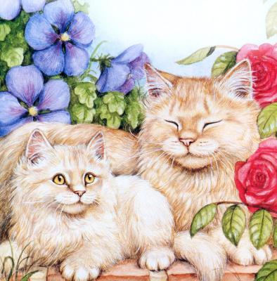Дебби Кук. Коты и синие цветы