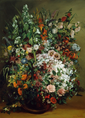 Gustave Courbet. A bouquet of flowers in a vase