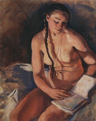 Зинаида Евгеньевна Серебрякова. Обнаженная с книгой