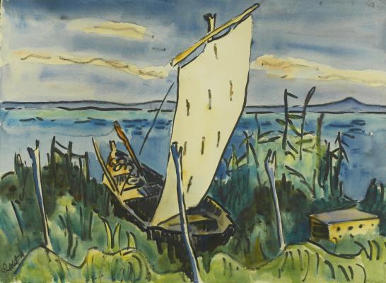 Karl Schmidt-Rottluff. Sailboat off the shores of lake Leba