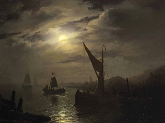 Petrus van Shendel. The harbour in the moonlight. 1850