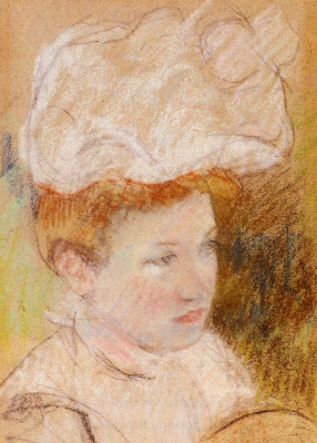 Mary Cassatt. Leontine in a pink lush hat
