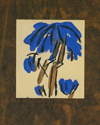 """Mikhail Larionov. Palm trees. Illustration from lithographed book by A. Kruchenykh """"Lipstick"""""""