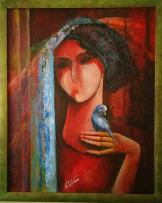 Nina Litvin. Girl with a parrot