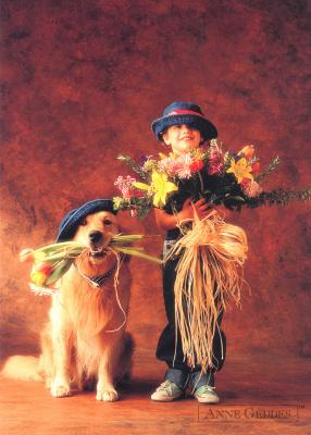 Анна Геддес. Ребенок с собакой
