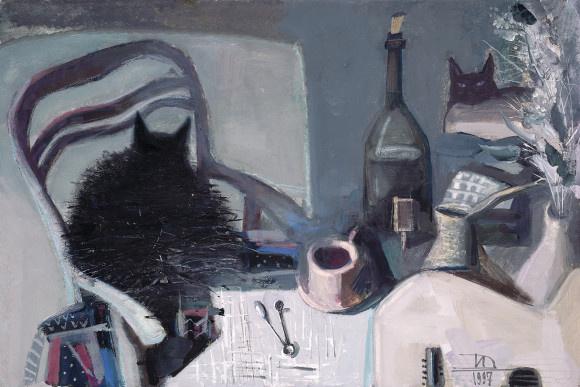 Дмитрий Евгеньевич Иконников. Два кота и чашка кофе